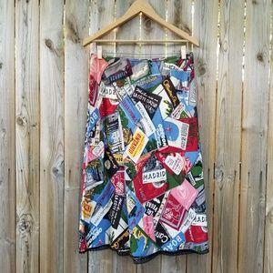 Gap Vintage Postcard Printed Silk Dress